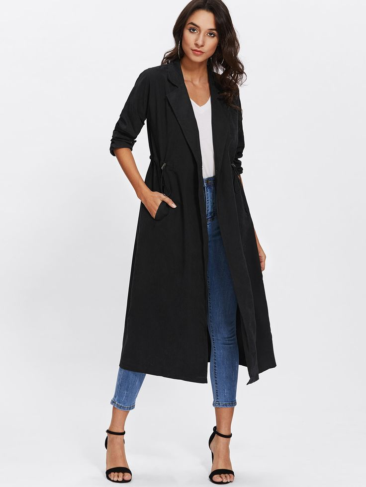Shop Slit Back Drawstring Waist Coat online. SheIn offers Slit Back Drawstring Waist Coat & more to fit your fashionable needs.