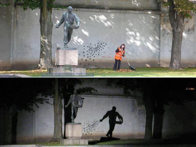 by night: Statue, Street Art, Night, Lithuania, Photo, Shadows, Streetart