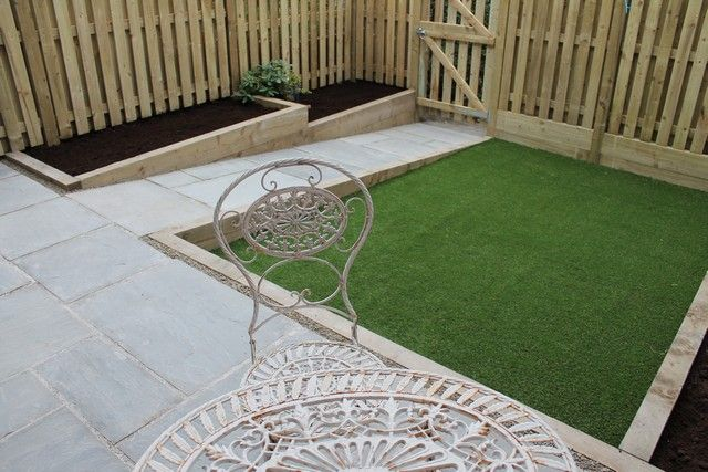 Small Terraced Garden In Sheffield Including Artificial Lawn Grey Indian Stone Hit N Miss