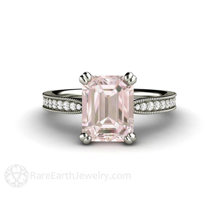Morganite Engagement Ring Platinum Morganite Ring Emerald Accented Solitaire Milgrain Conflict Free Diamonds Pink Gemstone Ring by RareEarth on Etsy https://www.etsy.com/listing/223966227/morganite-engagement-ring-platinum