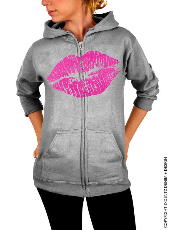 """Use coupon code """"pinterest"""" Lips Hoodie - Lipstick Kiss - Valentine's Day - Gray with Pink Zip Up Hoodie by DentzDenim"""