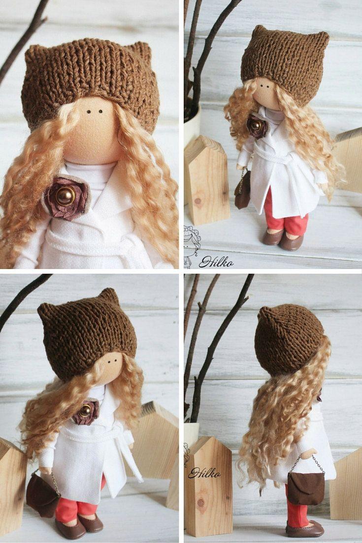 Winter doll handmade brown bl1onde colors by AnnKirillartPlace
