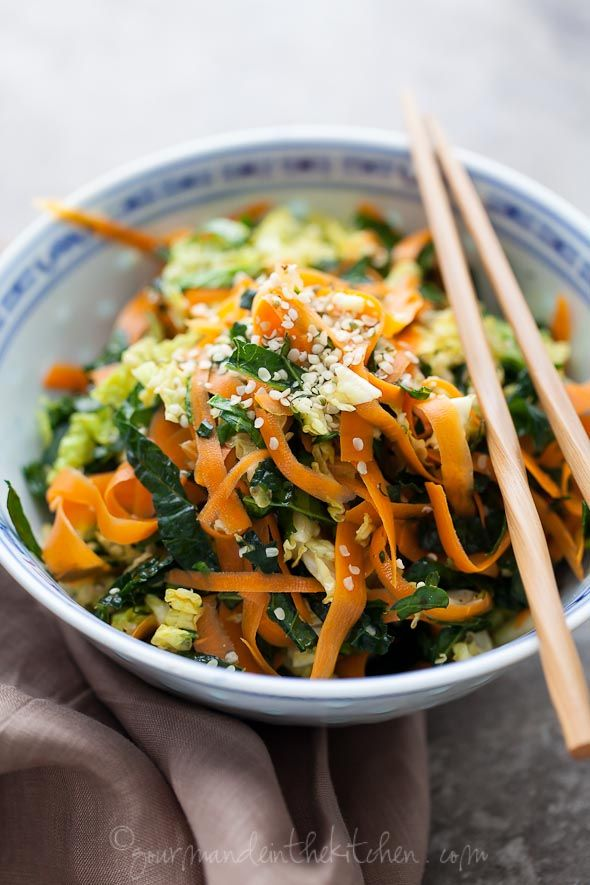 Kale Cabbage and Carrot Chopped Salad gourmandeinthekitchen.com  Raw Kale, Cabbage and Carrot Chopped Salad with Maple Sesame Vinaigrette