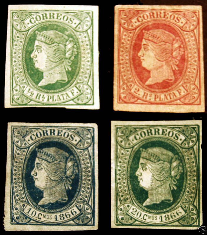 Spanish Antilles Imperfs 1864-66 MLH 4 items