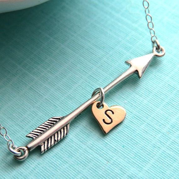 Arrow and Heart with Initial Necklace in Sterling Silver, Arrow Charm, Arrow Jewelry, Personalized, Katniss Necklace, Hand Stamped