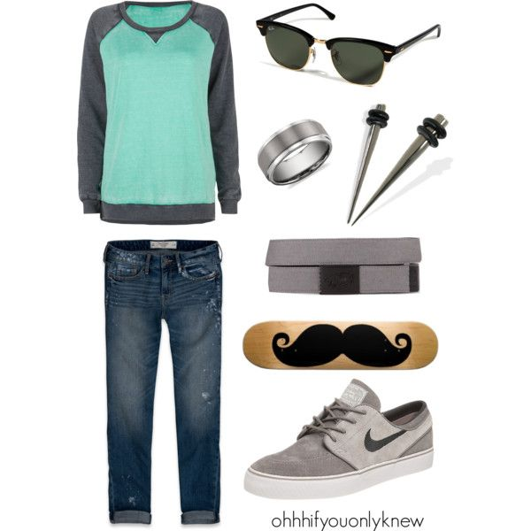 A fashion look from February 2013 featuring Full Tilt sweatshirts, Abercrombie & Fitch jeans и NIKE shoes. Browse and shop related looks.