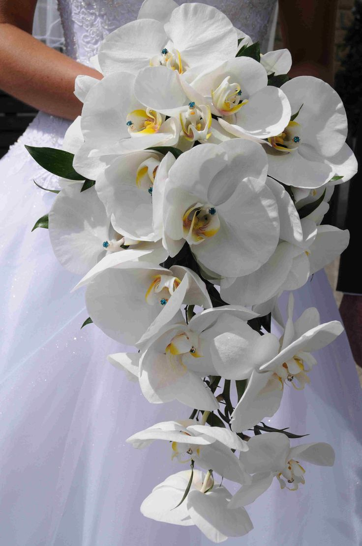 orchid shower bouquet wedding bride with diamontes www.flowerartbycatrin.com llanelli wales