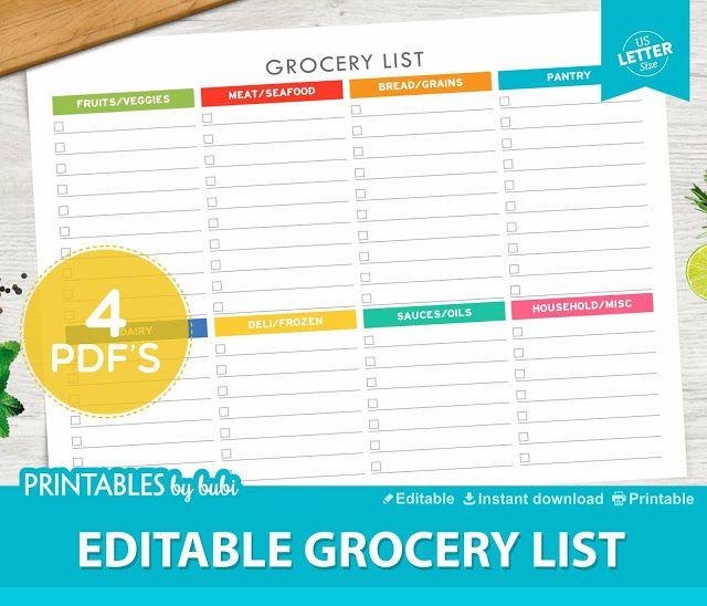 45 best Kitchen images on Pinterest Planner inserts, Agenda - editable shopping list template