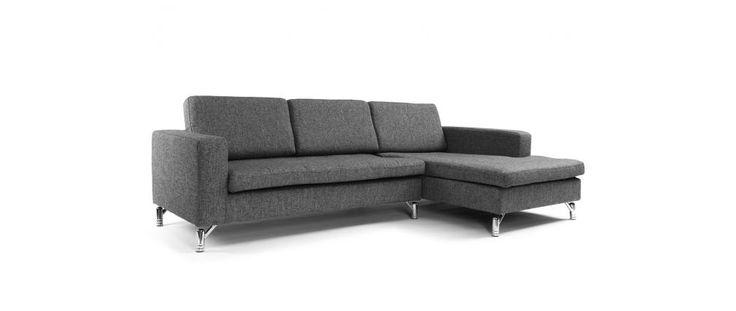649€ Canapé d'angle design gris charbon 3 places (angle droit) HARVARD - Miliboo