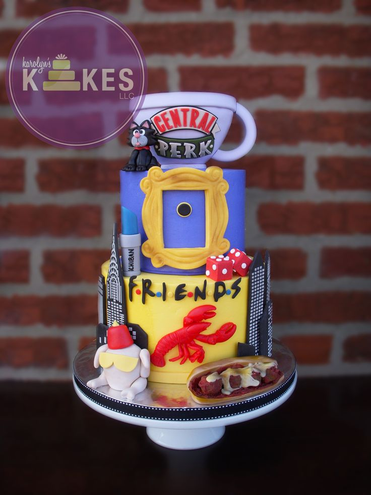 - FRIENDS TV show KAKE! I was so excited to make my 3rd FRIENDS kake as it's my favorite show! Cakes iced in buttercream, MMF decorations.  Rice cereal coffee mug.