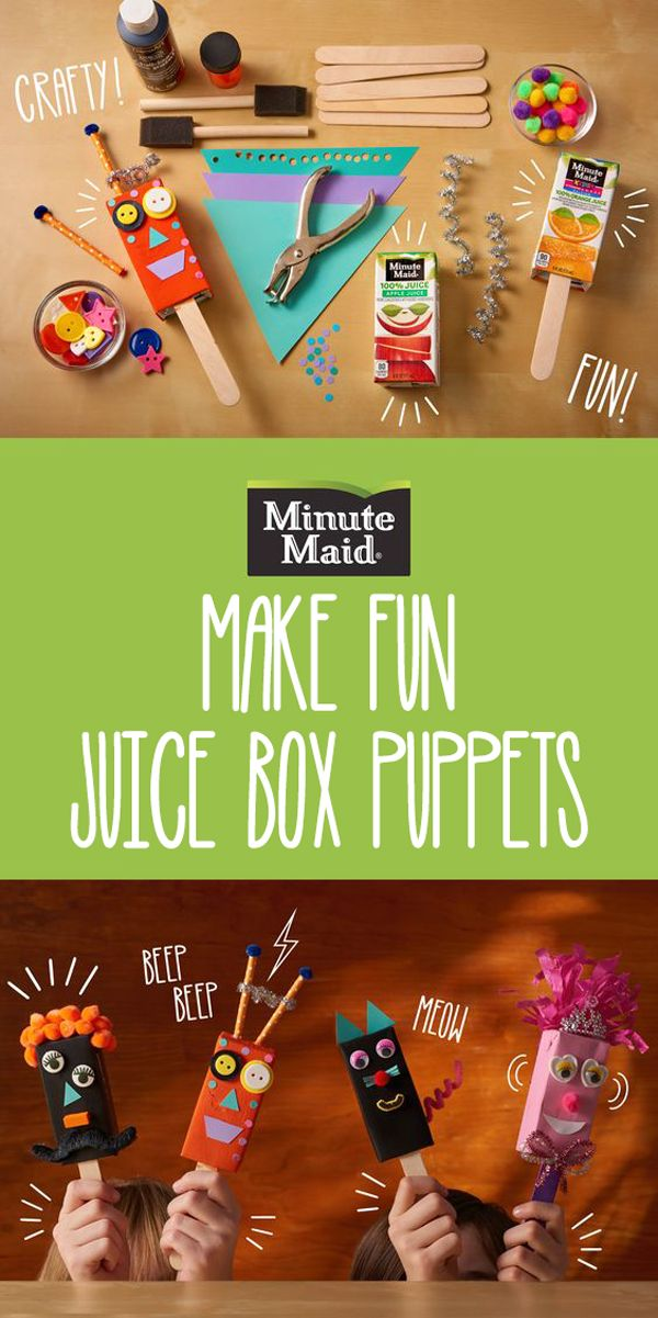 Need a fun after school activity for your little ones that's full of personality? Make these cute puppets with Minute Maid juice boxes!
