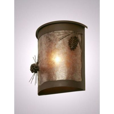 Steel Partners Ponderosa Pine 1 Light Outdoor Flush Mount Finish: Rust, Shade Type: Amber Mica