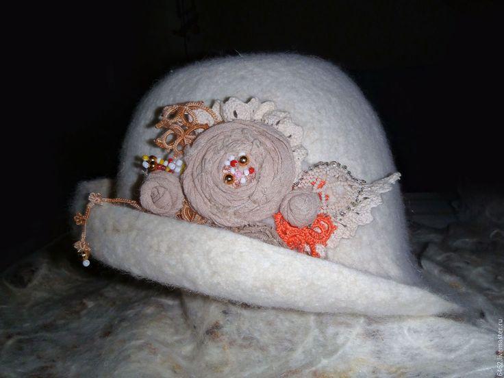 Купить В белом муаре... - белый, однотонный, шляпа, шляпа с полями, шляпка женская