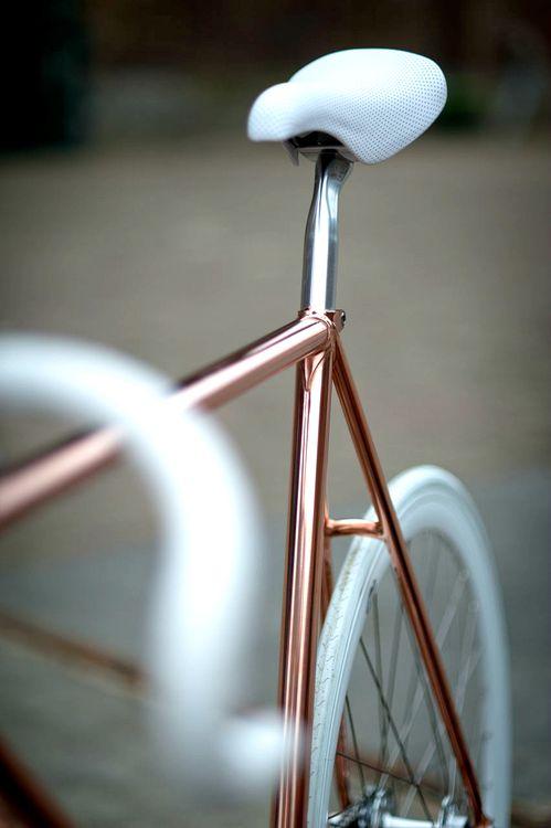 Sleek, Simple, Contemporary. Rose gold bike frame