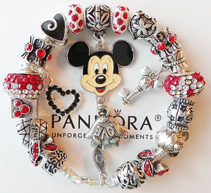 Authentic PANDORA Silver Charm Bracelet with Love Mickey Mouse Charms Beads #Pandora #European