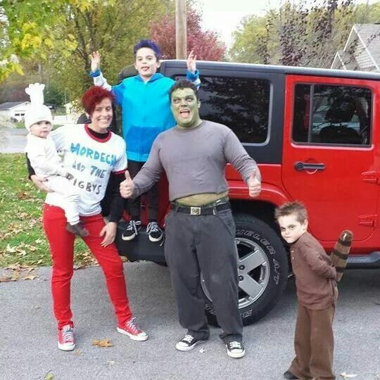 DIY regular show costumes: Mordecai, Rigsby,  Margaret,  Muscle Man, and High Five Ghost