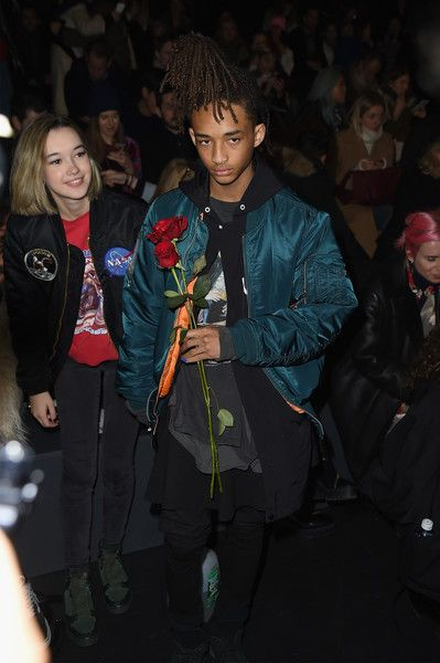 Jaden Smith and girlfriend Sarah Snyder attend Hood by Air at Fall 2016 New York Fashion Week.