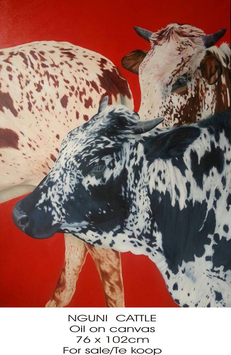 Nguni Cattle, oil on canvas By Natasha Pretorius