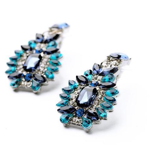 Elegant Blue Rhinestone Drop Earrings