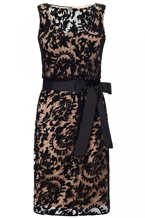 Black lace wedding guest dress