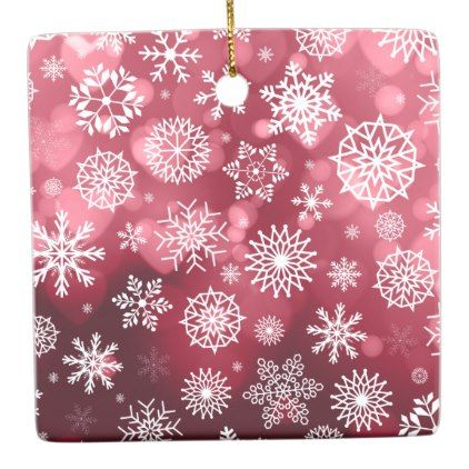Snowflakes on a Valentine Background | Ornament - valentines day gifts gift idea diy customize special couple love