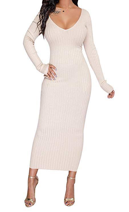 7c4c6364d07 Winter Dress Ideas - Maxi Sweater Dress for Women Long Sleeve Maxi Dress  Off Shoulder Knit Slim Fit Cute Dresses for Winter