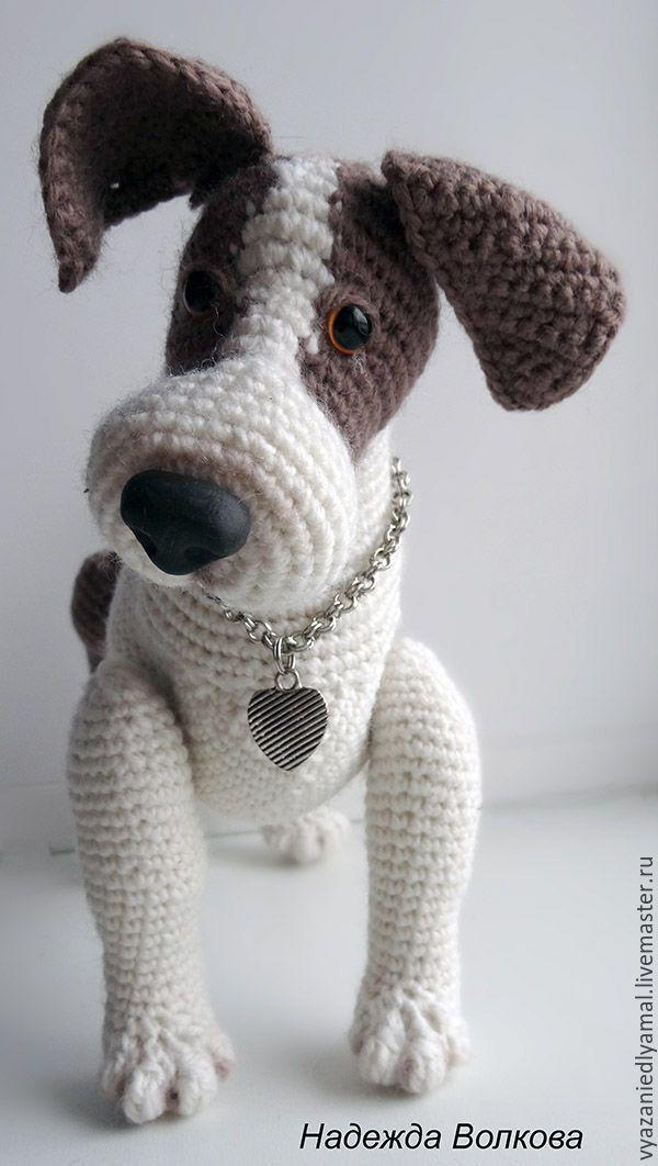 Купить Игрушка вязаная Щенок джек рассел терьер - белый, собака вязаная, щенок вязаный