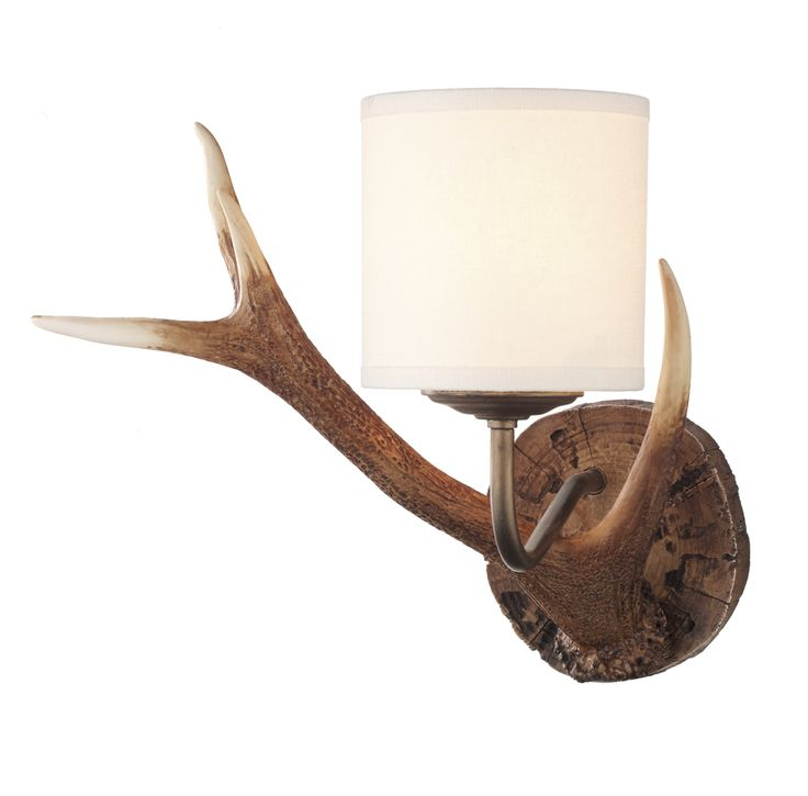 David Hunt ANT0729S Antler 1 light wall light Antler small single wall light, hand painted in our highland rustic finish with cream fabric drum shade and bronze metal work