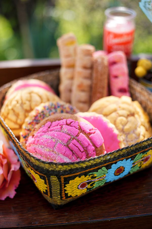 Pan dulce ~ Mexican wedding board a little bit of color is gonna be perfect for sweets table!!! Omggg