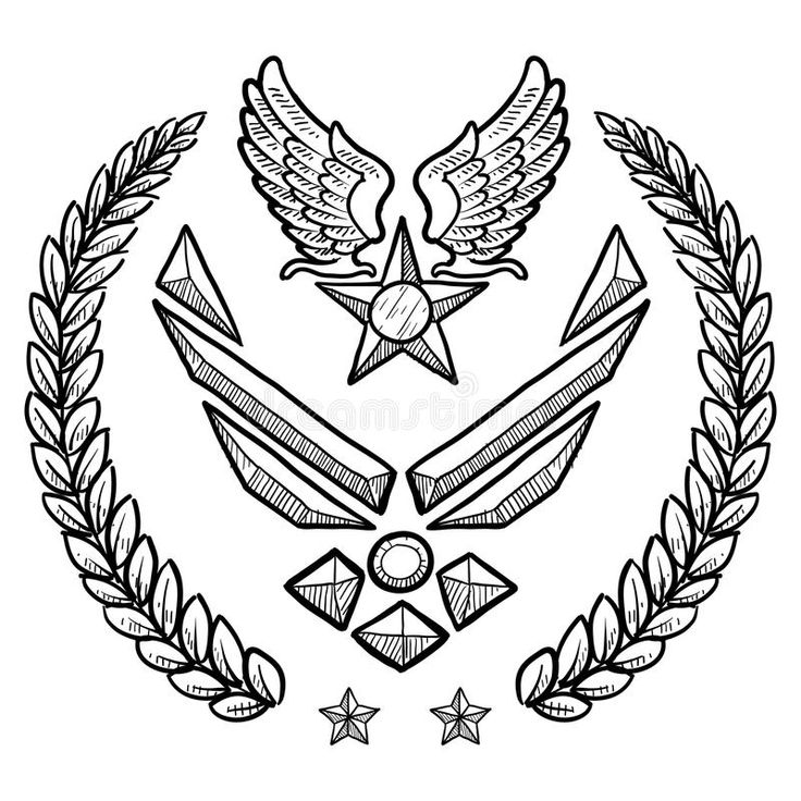 Modern US Air Force Insignia with Wreath. Doodle style