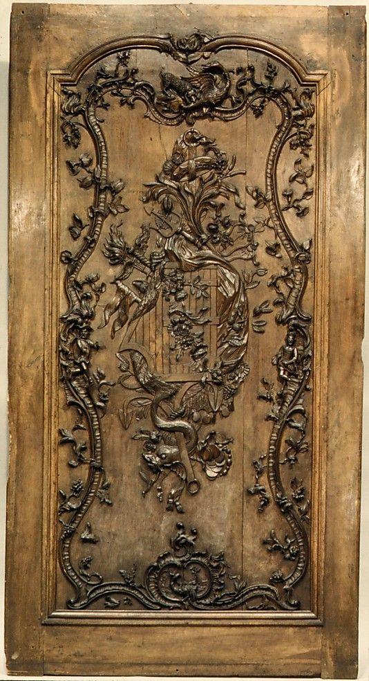 Door panel (?) Date: second quarter 18th c. Culture: French, Medium: Carved walnut