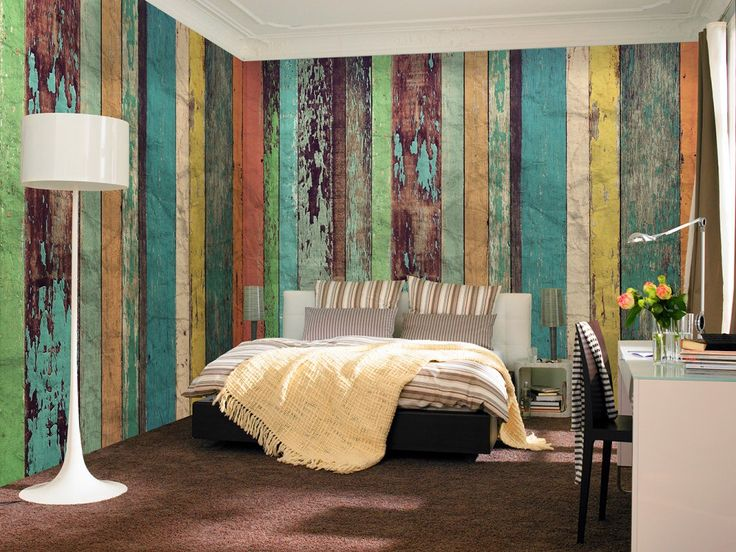 Non-Woven Wall Mural Colored Wooden Wall Premium Wall Murals Non-Woven Wall Murals 8-part