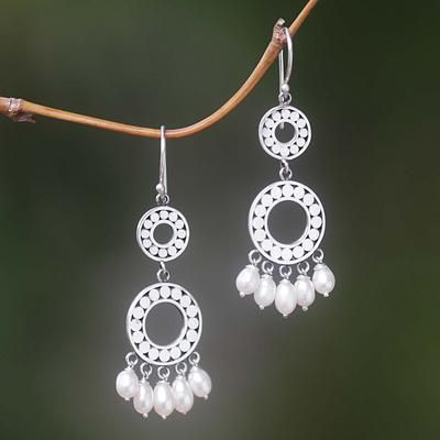 Pearl chandelier earrings, 'Eclipse in White' - Sterling Silver Pearl Chandelier Earrings