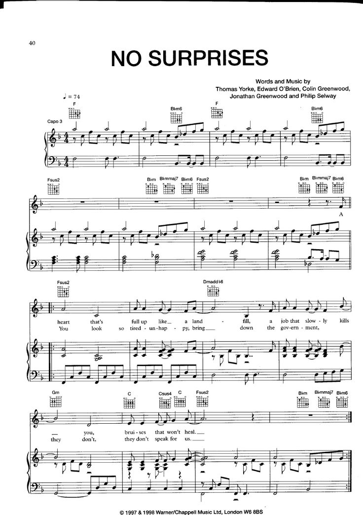 [Sheet Music Piano Score] Radiohead __ No Surprises