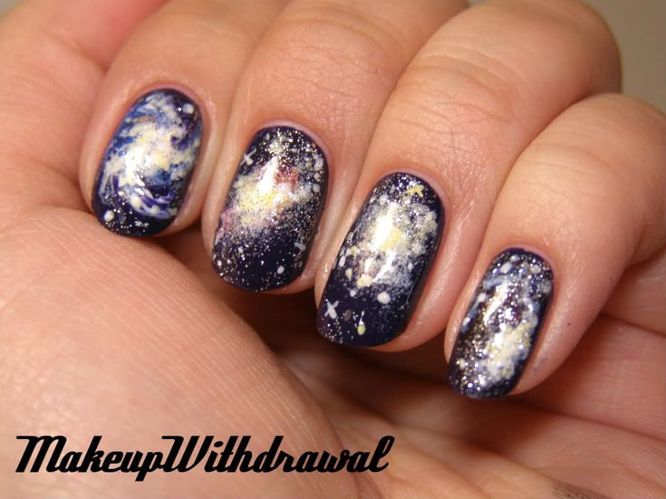 Mystery Galaxy Nails (no, not clothing, but... likely the only time I'll pin painted nails)