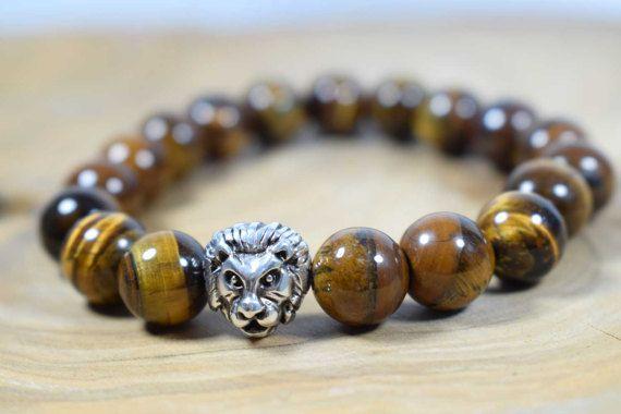 Men's Tiger Eye Bracelet Lion Head by AlterDecoCoinsnBeads on Etsy