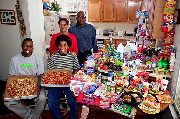 What the World Eats - A photo essay showing what different families around the world would eat in a typical week.  This is the Revis family of North Carolina.  Food expenses for one week: $342.  Favorite foods:  spaghetti, potatoes, sesame chicken.