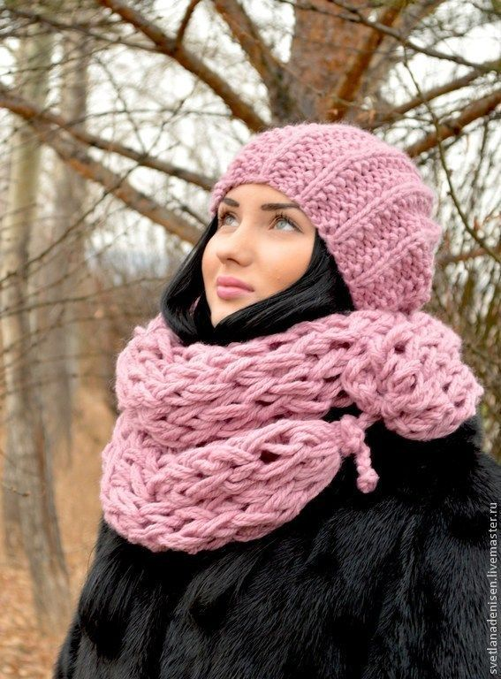 Купить Комплект вязаный « Розовый жемчуг», шапка и шарф снуд . - снуд, шарф