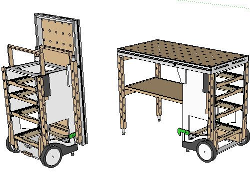 MF-TC multifuntion tool cart.  (Brilliant portable design.  Been looking for something similar for IT work.  Think I might modify the design a bit)  Video of setup and use - http://www.youtube.com/watch?v=t5YzIwK-g0E