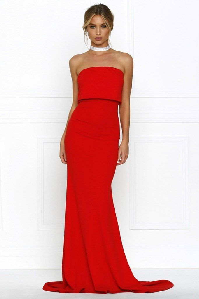 e5f093f0e05b Honey Couture RHIANA Red Strapless Bandeau Cropped Evening Gown Dress