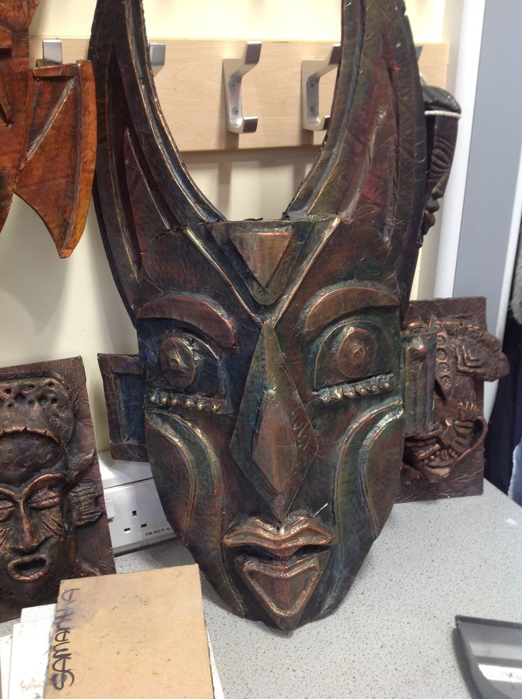 Cardboard relief African mask Harrop fold