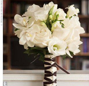 wedding bouquet: White Flower, Idea, Bridal Bouquets, Ribbons, Weddings Bouquets, Weddings Flower, White Weddings, White Bouquets, Bridesmaid Bouquets