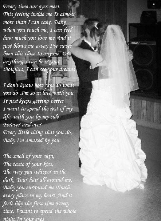 "First Dance lyrics on photo :)  ""Amazed"" by Lonestar"