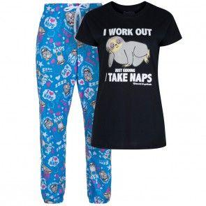 David and Goliath Sloth I Take Naps Womens Pyjama Set - Black