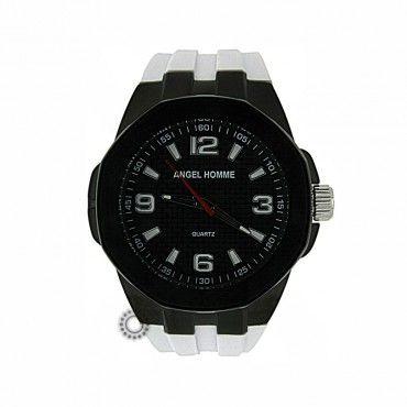 Ανδρικό μοντέρνο sport quartz ρολόι ANGEL με μαύρο καντράν, μαύρη κάσα & λευκό καουτσούκ   Ρολόγια ANGEL στο κατάστημα ΤΣΑΛΔΑΡΗΣ στο Χαλάνδρι #angel #μαυρο #σιλικονη #ανδρικο #ρολοι