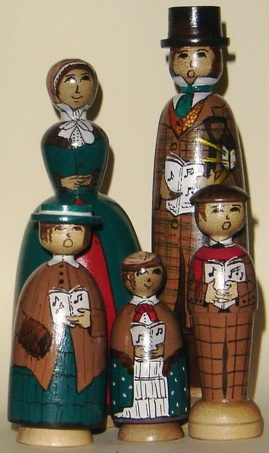 Victorian Christmas Carollers painted on white sassafras by Jilli Roberts for the Deepings Dolls