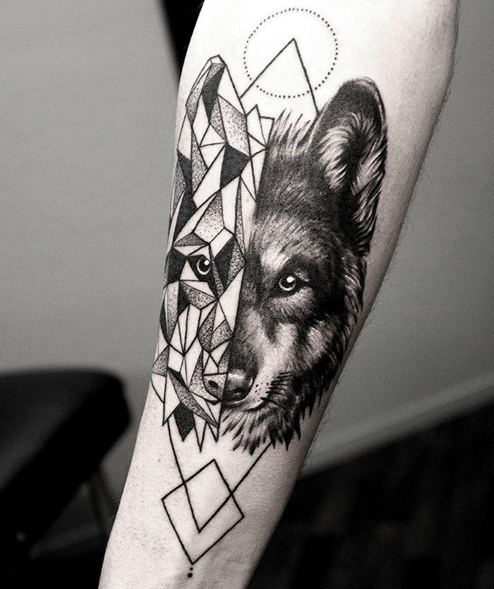 Wolf Geometrical fusion tattoo by @shirmaineanne Soular Tattoo - Christchurch - New Zealand