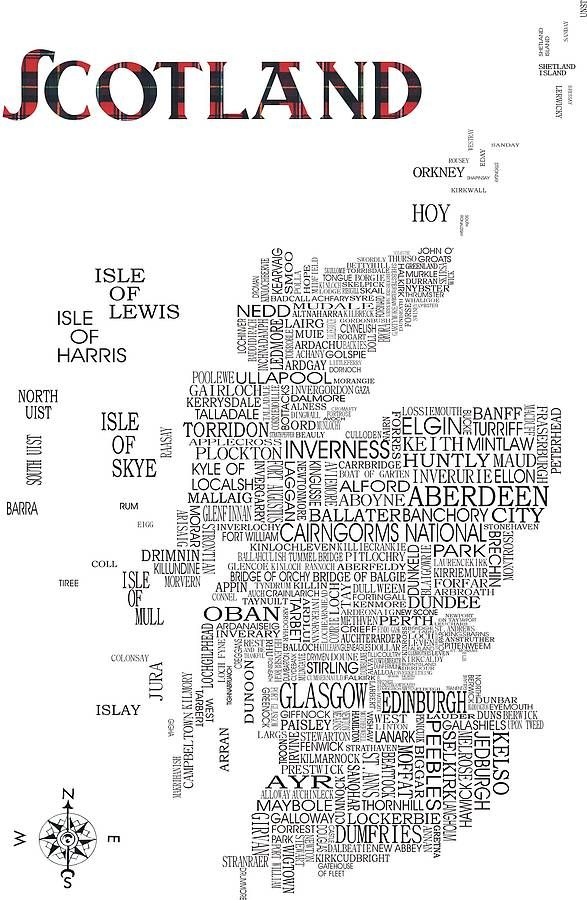 Scotland Map Print  I wanna create my own of MINNESOTA since we have such a recognizable shape!