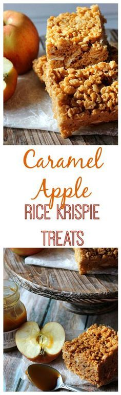 Caramel Apple Rice Krispie Treats. These are the BEST rice krispie treats EVER!! All the flavors of fall in one chewy, marshmallowy treat!