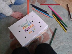 Cardboard Box and Colouring Pencils